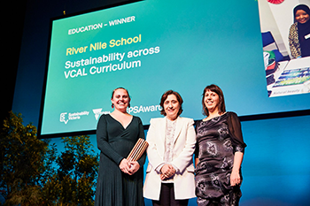 VCAL teachers from the River Nile School, Francesca Pisano (left) and Maggie Bradley (right), with Lily D'Ambrosio, Minister for Energy, Environment and Climate Change (centre)